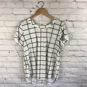 Sweet Wanderer Short Sleeve Black & Cream Blouse L